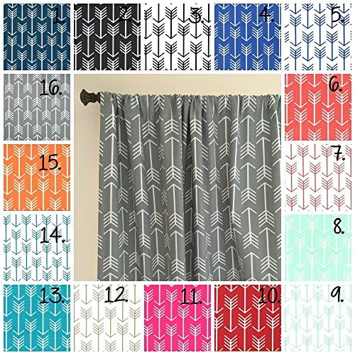 Arrow Curtain Panel Set Navy Curtains Coral Drapes Gray Panels Mint