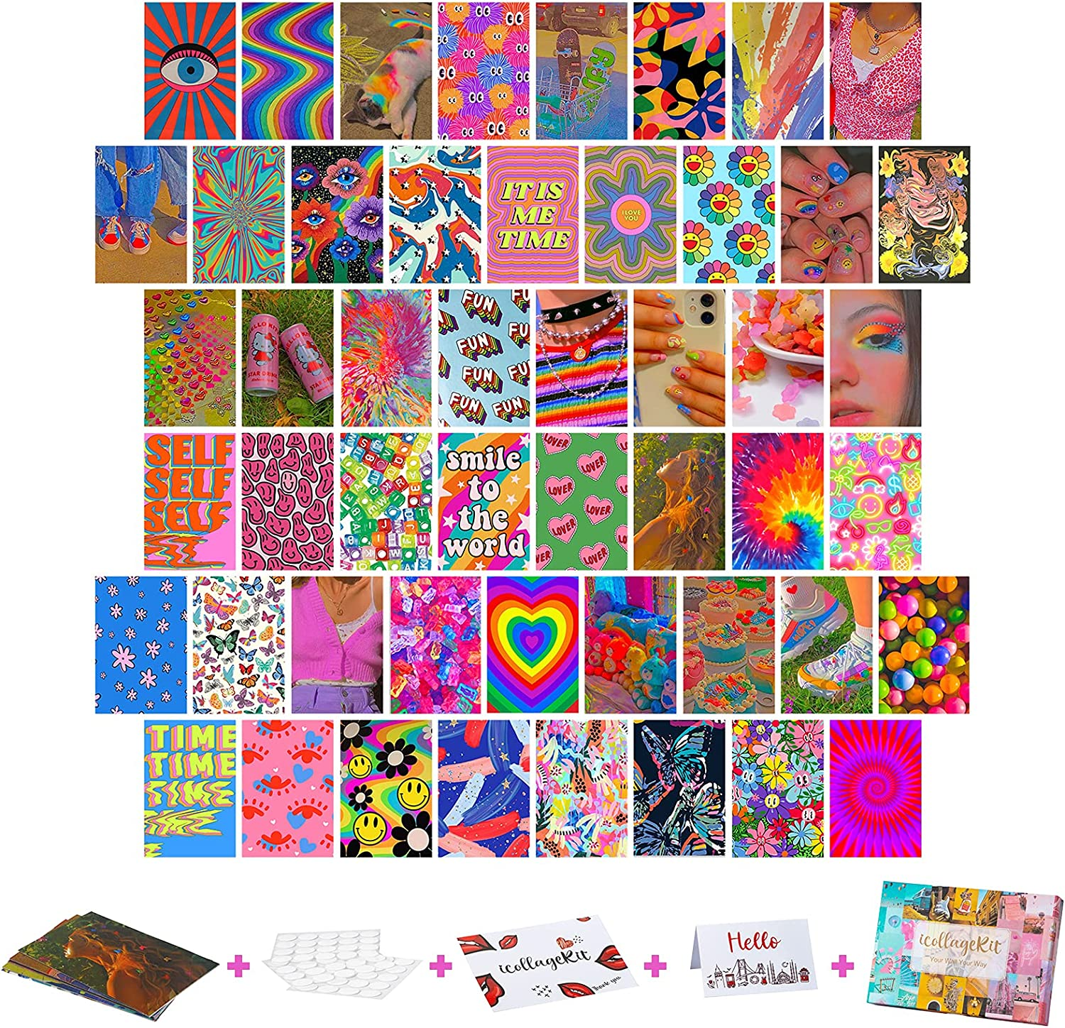 Wall Collage Kit Indie Aesthetic Pictures, 50PCS 4x6 Inch, UnityStar Aesthetic Wall Images Baddie Room Decor for Teen Girls Boys, Trippy Photo Wall Collage Kit for Bedroom