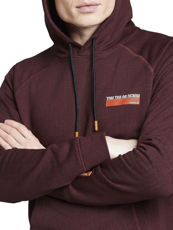TOM TAILOR DENIM Strick & Sweatshirts Hoodie mit Allover-Print Rot (21549)