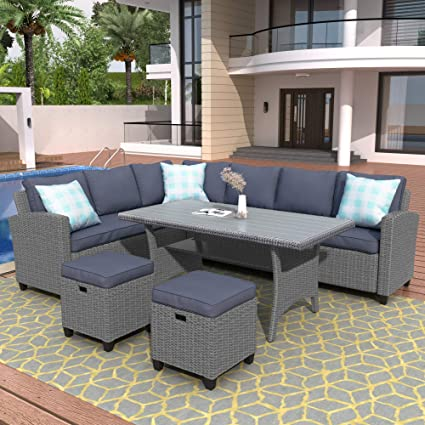 Merax 7pcs Patio Outdoor Furniture Sets Sectional Sofa Wicker Patio Set All Weather PE Rattan Conversation Set with Tea Table/&Washable Couch Cushions-Blue