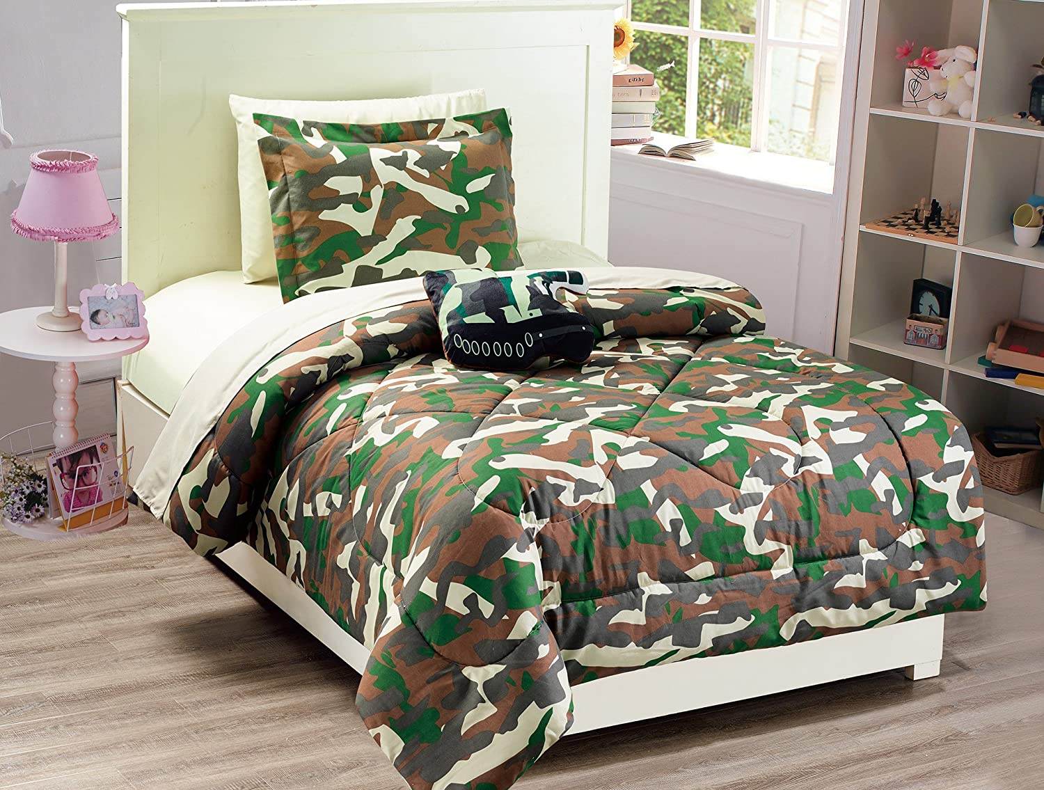 Mk Collection 8 PC Kids/Teens Full Size Tank Army Camouflage Military Green Brown Beige Light Brown Comforter and Sheet Set with Furry Buddy Included New