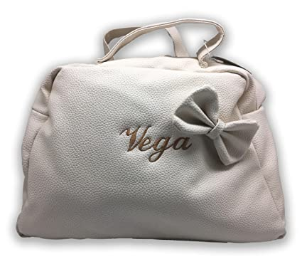 Bolso carro maternal polipiel. COLOR BEIGE. Personalizado con nombre bordado