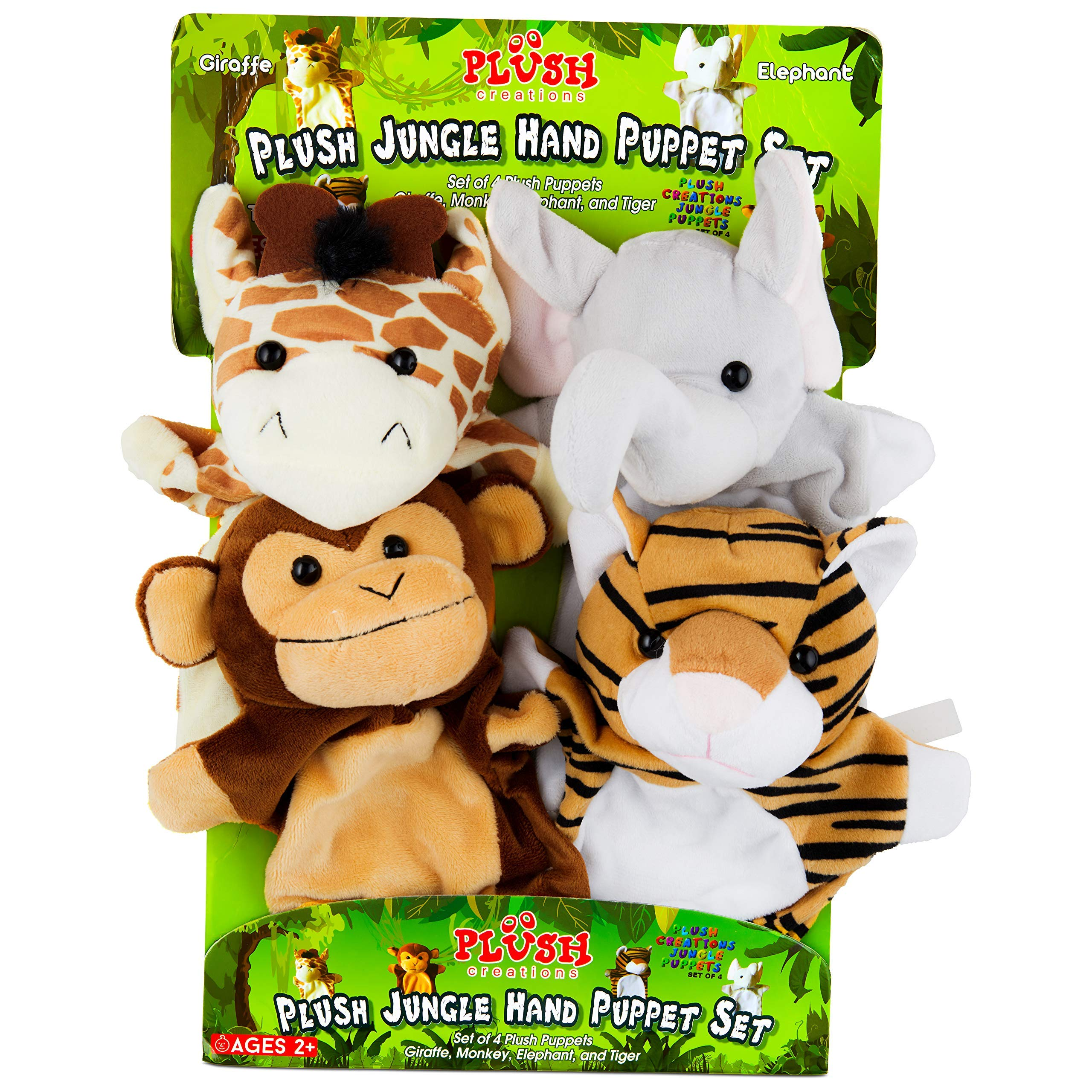 Hand Puppets Jungle Friends [Set of 4] | Elephant, Giraffe, Tiger & Monkey Stuffed Plush Animal Toys for Boys & Girls | Perfect for Storytelling, Teaching, Preschool & Role-Play by Plush Creations