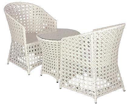 FurniFuture™ Ultra Outdoor Patio Furniture Set 2+1 - (White)