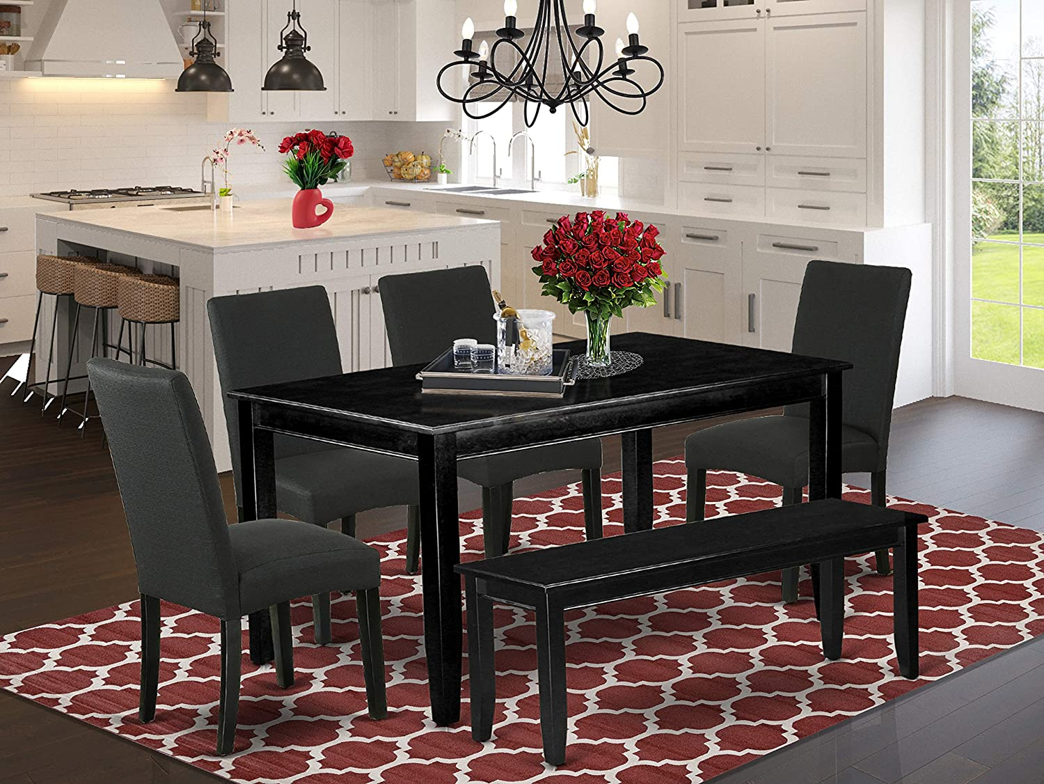 Amazon Com East West Furniture 6pc Rectangular 60 Inch Dining Table And Four Parson Chair With Black Finish Leg And Linen Fabric Color Plus 1 Bench 6 Furniture Decor