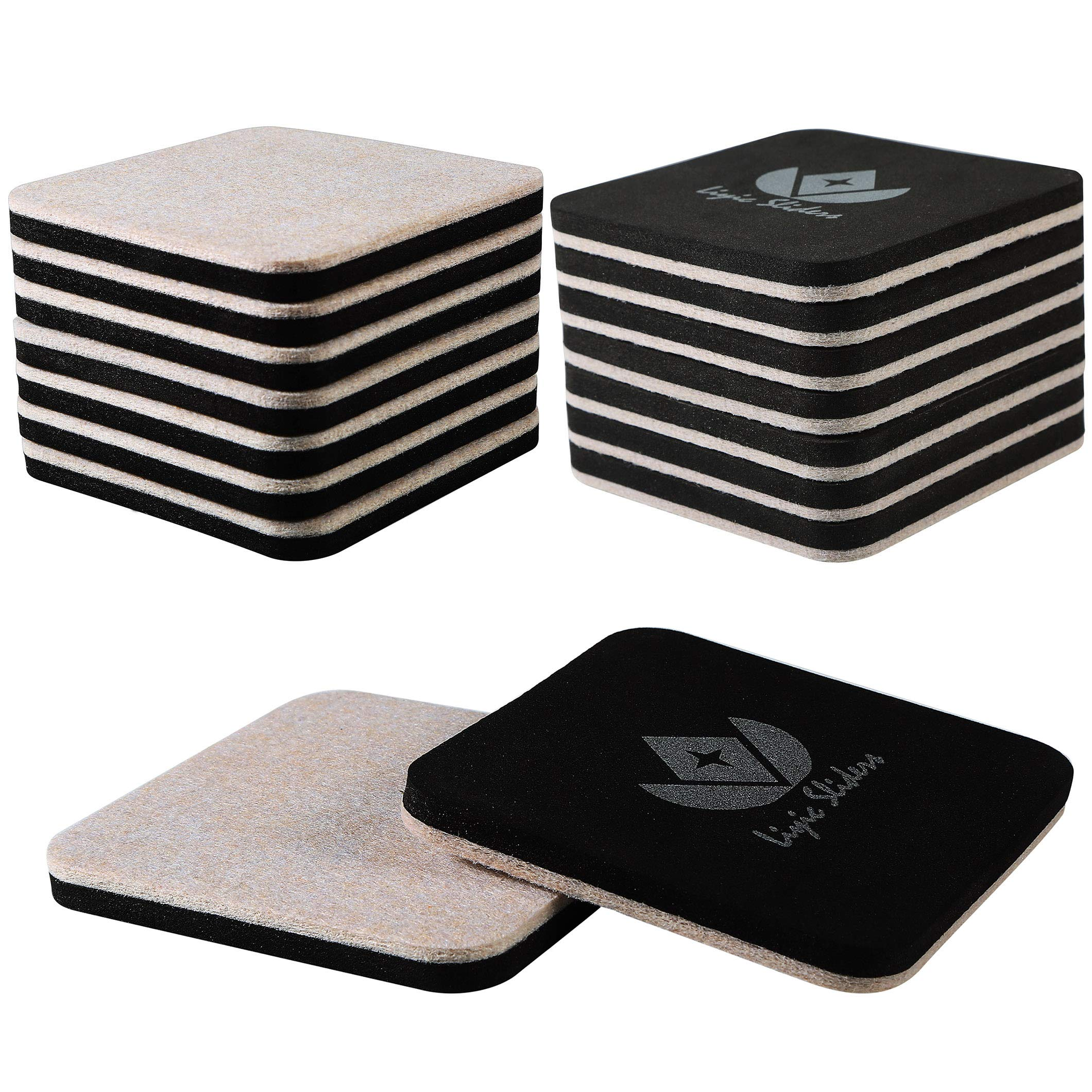 Liyic 4in.Square 16 Pack Felt Sliders for Hard Surfaces-Felt Furniture Sliders - Heavy Duty Sliders - Reusable Hardwood Floor Sliders -Furniture Moving Sliders-Sofa Sliders Gliders Glides Movers