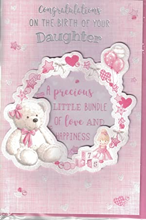 new baby girl card congratulations on the birth of your gorgeous daughter lovely quality