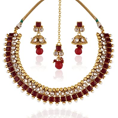 7130fa89a Buy ACCESSHER Rajwadi Red Antique Necklace Set and Maang Tika Online at Low  Prices in India