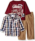 Little Rebels Baby Boys' 3 Piece Checkered Shirt and Pant Set