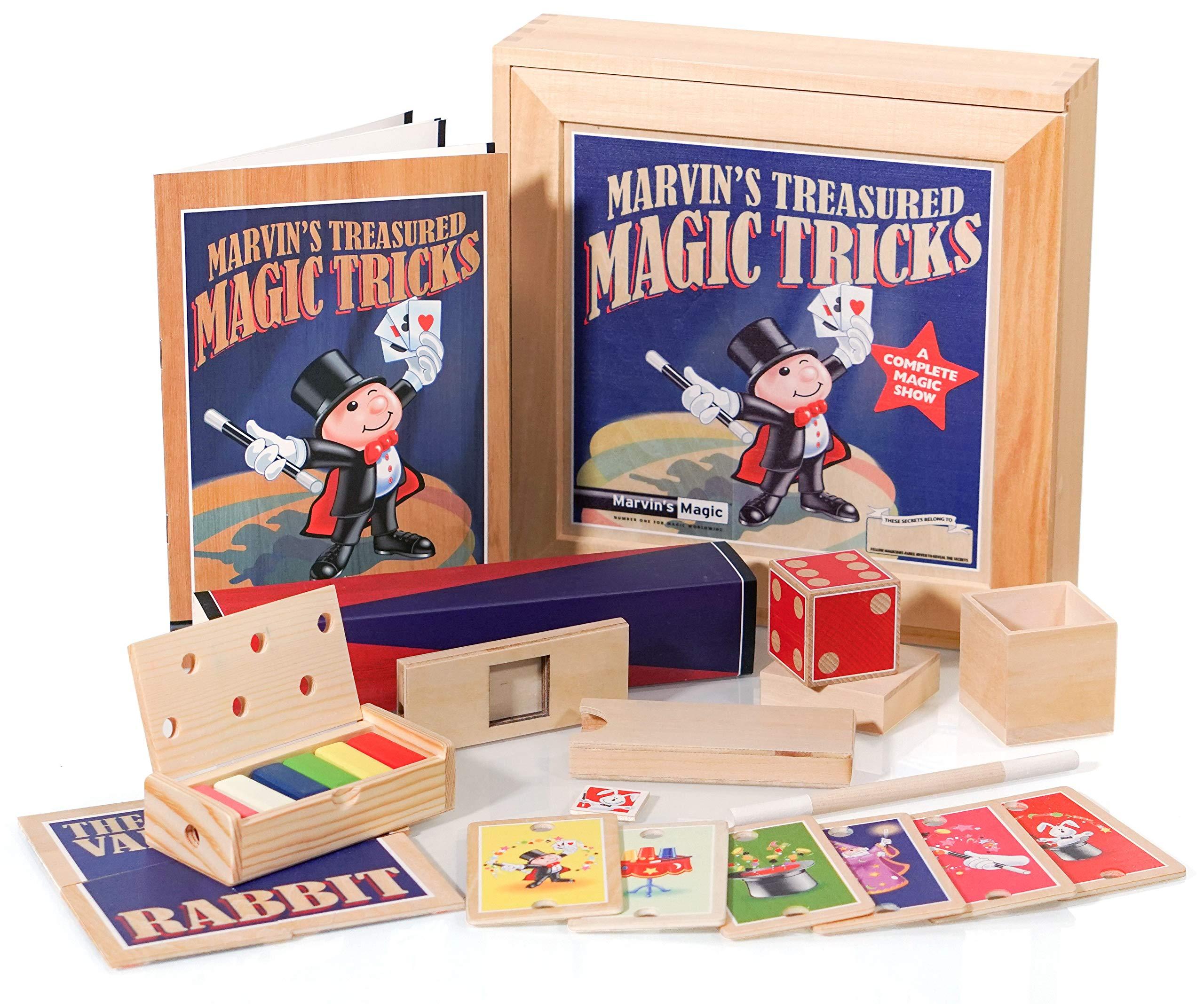 Marvin's Magic - Treasured Tricks Wooden Magic Tricks Set For Kids | Includes Escaping Coloured Blocks, Vanishing Rabbit Illusion, Amazing Rising Cards + More