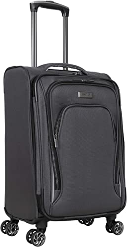 Kenneth Cole Reaction Cloud City 20 Lightweight Softside Expandable 8-Wheel Spinner Carry-On Travel Suitcase, Charcoal, inch