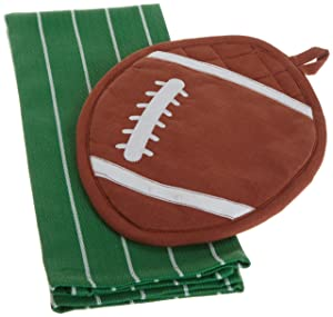 DII Game Day Football Shaped Pot Holder and Dishtowel Kitchen Gift Set
