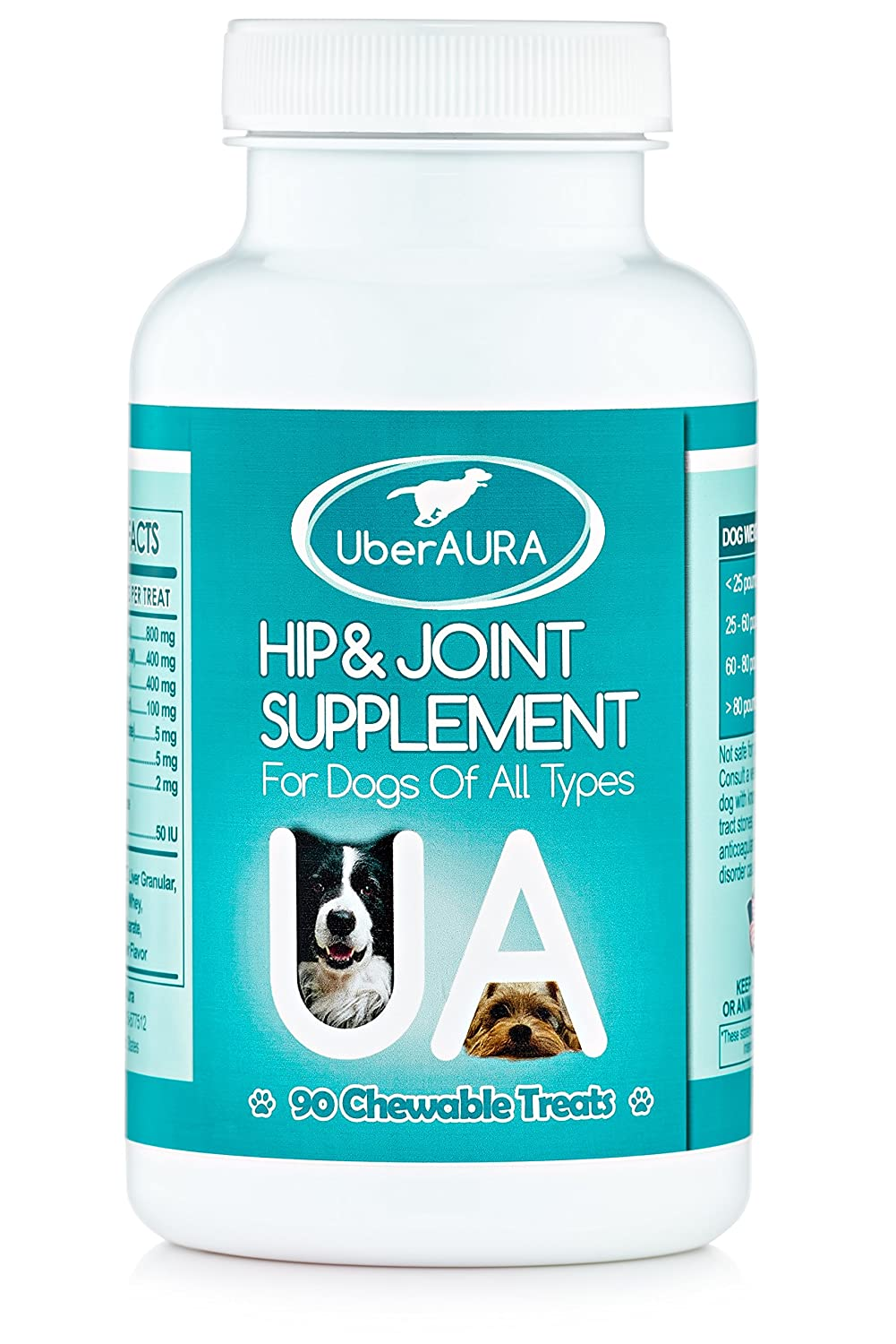 Advanced Hip & Joint Supplement for Dogs - 90 Flavorsome Chewable Treats with 800mg Glucosamine, 400mg Chondroitin, 400mg MSM, Vitamin C and more - Made in USA
