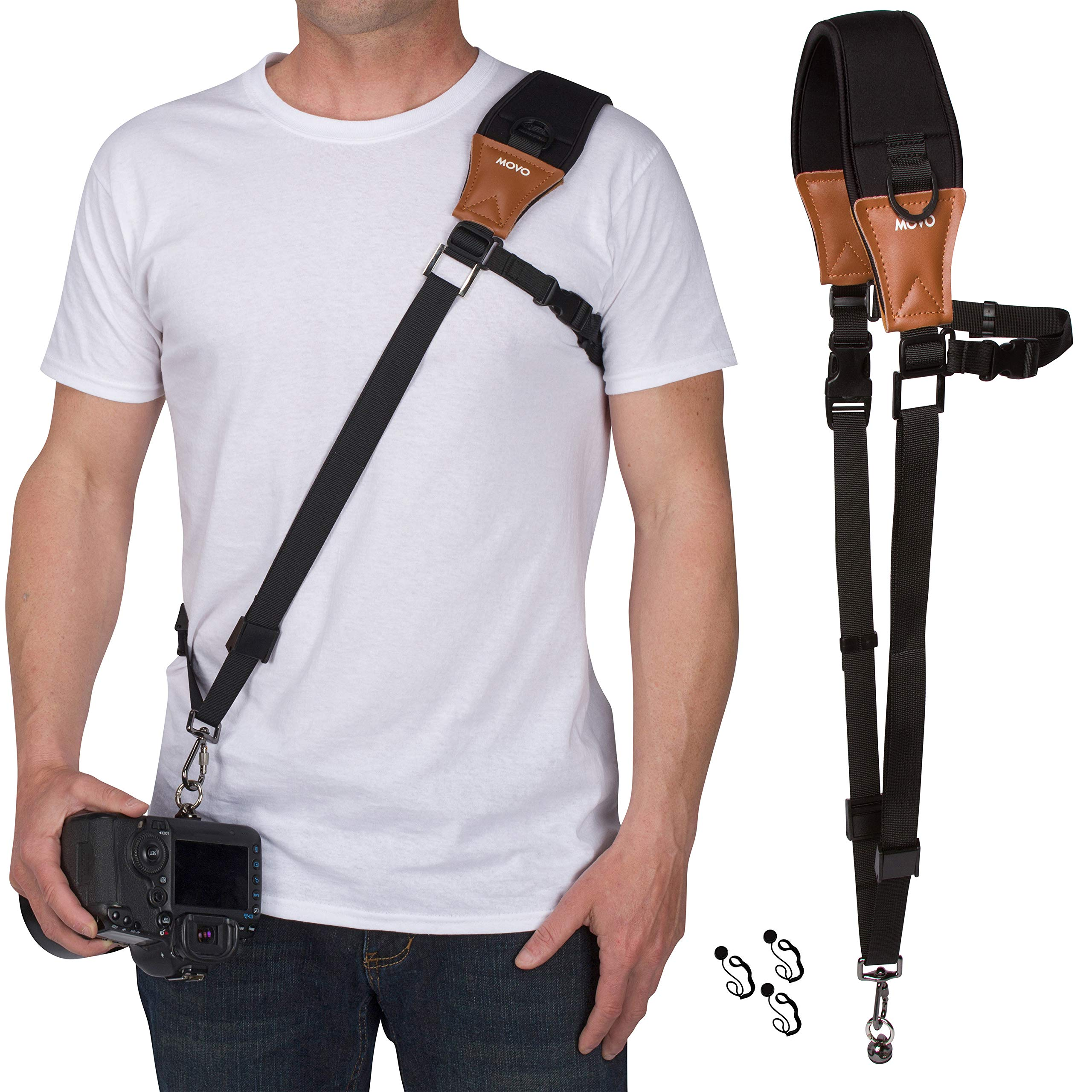Movo MP-SS7 V2 Rapid Action Camera Sling Strap with Quick Release Clip, Neoprene Vintage Leather Shoulder Pad Cushion and Bonus Lens Cap Holders for DSLR, Mirrorless Cameras and Binoculars