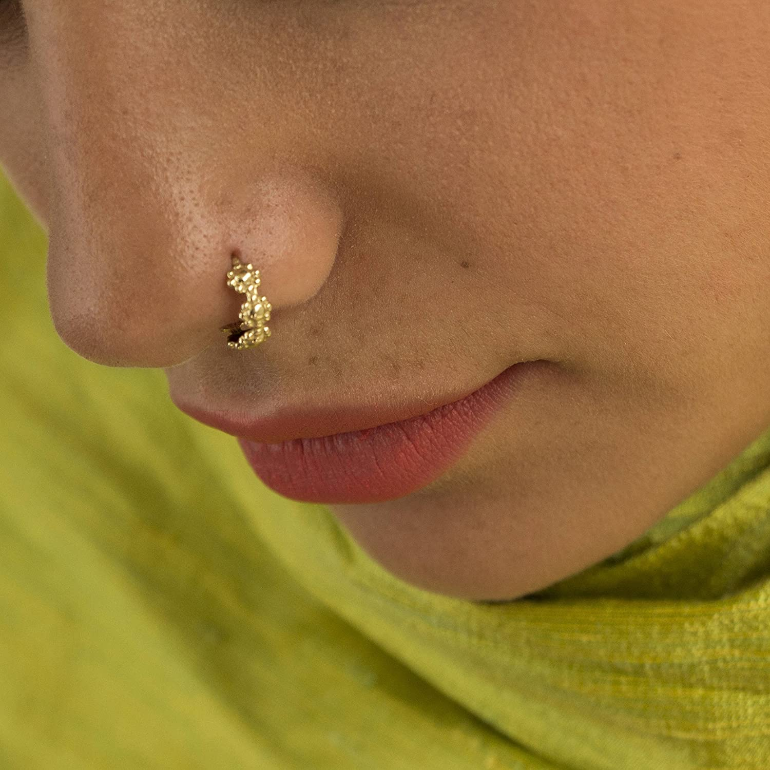 Amazon Com Unique Nose Ring 14k Gold Indian Tribal Flower Nose