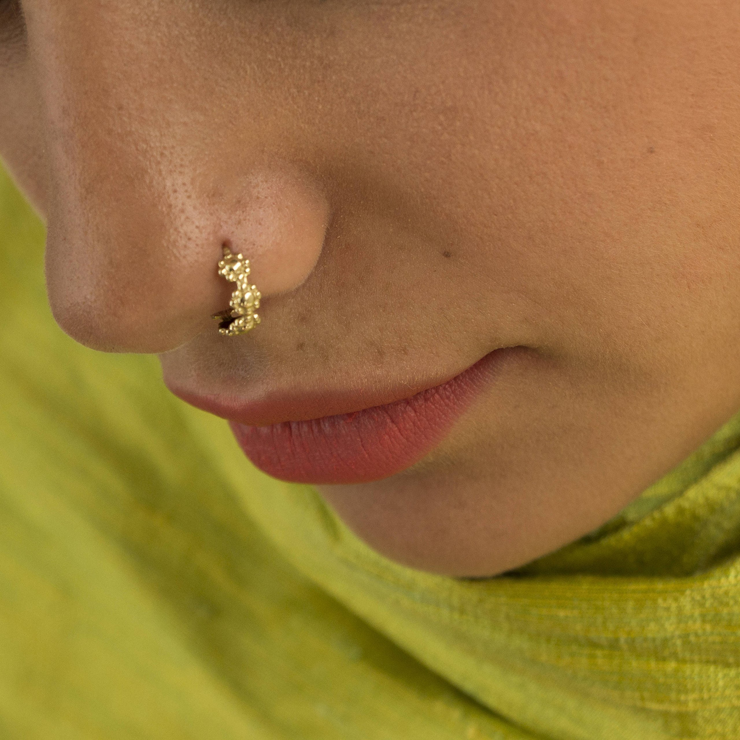 Flower Gold Nose Ring, Indian 14K Solid Gold Tribal Style Nose Hoop, Fits Cartilage, Helix, Tragus Earring, Handmade Piercing Jewelry, 20g