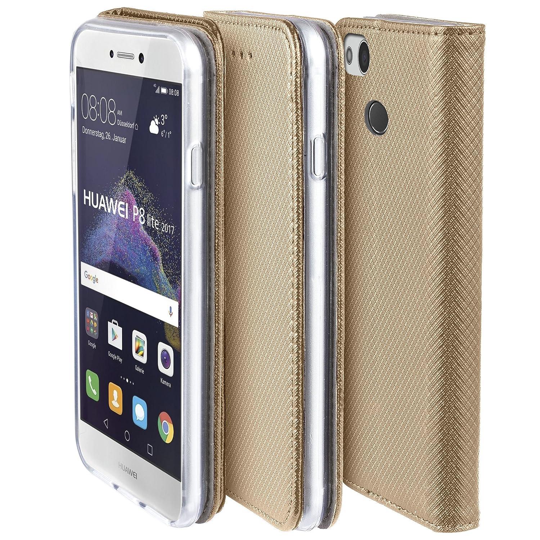 Moozy Funda para Huawei P8 Lite 2017, Oro - Flip Cover Smart Magnética con Stand Plegable y Soporte de Silicona