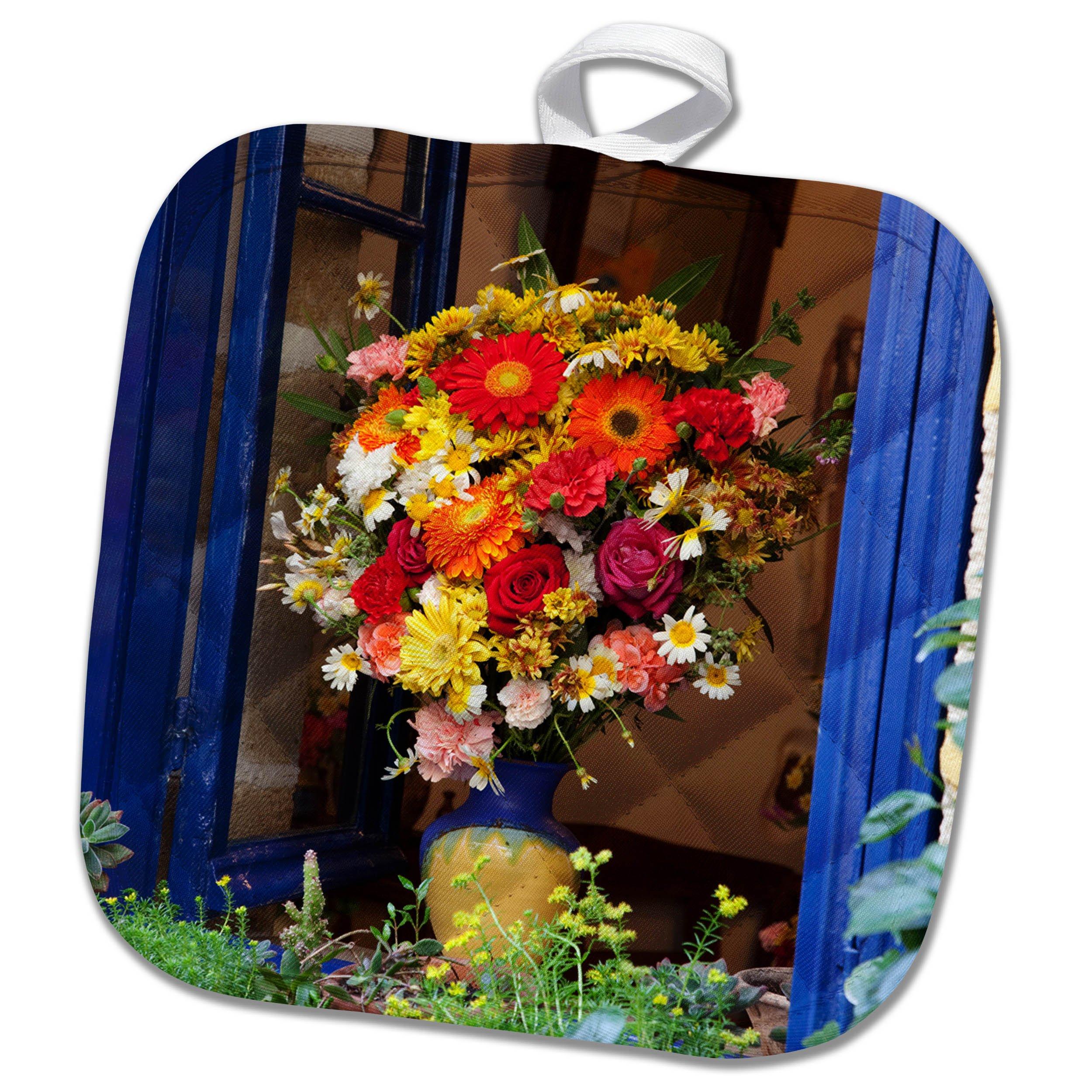 3dRose Danita Delimont - Flowers - Greece, Crete, Window with flowers - 8x8 Potholder (phl_277435_1)