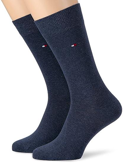 79344e7637f Tommy Hilfiger Lot de 2 paires de chaussettes opaques classiques pour  hommes - bleu - 39