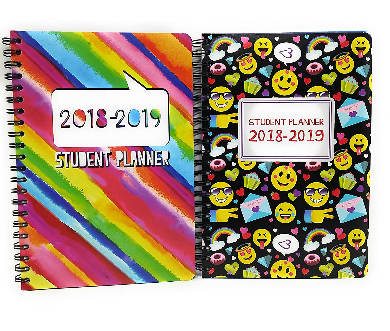 Back to School Student Elementary Middle High 2018 School Classroom Student Academic Year Daily Planner August 2018 Through July 2019 Planner (2) Emoji Rainbow