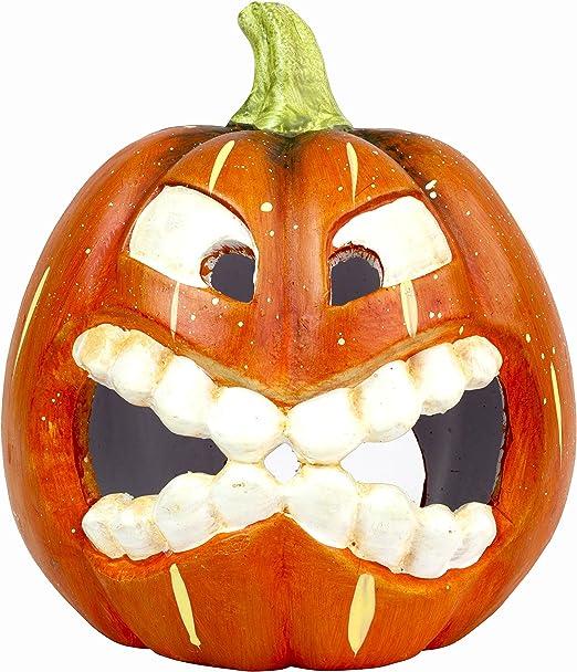 Halloween Deko Grinsender Kurbis Teelichthalter Aus Keramik Amazon De Kuche Haushalt