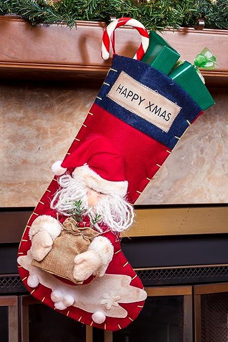 high end fancy family christmas stockings for kids 3d santa