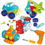 Joyin Toy Take-a-part Train, Truck, Helicopter and Submarine Toys with Power Drill Driver Construction Tool Toddler Push Car Toy Set