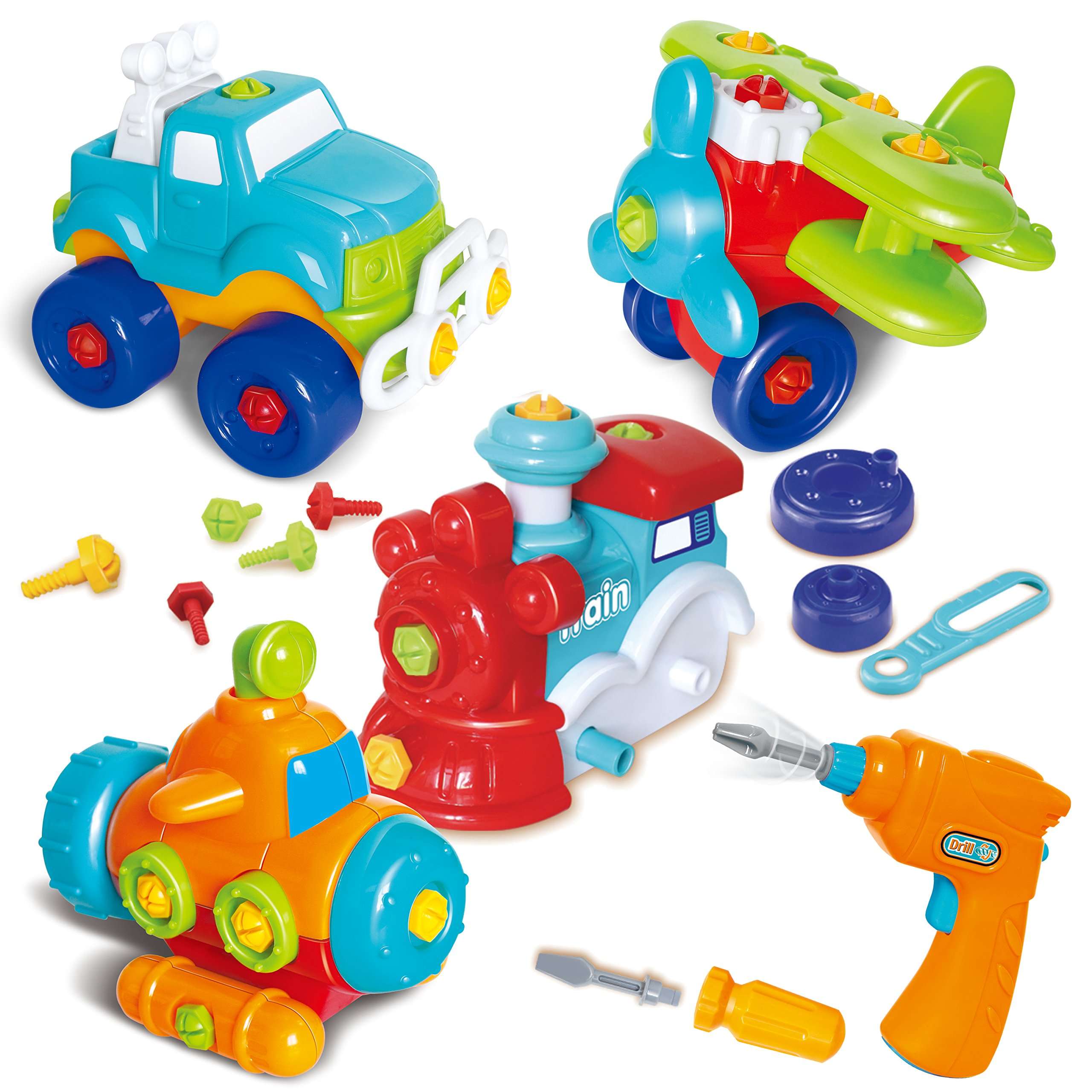 Joyin Toy Take-a-part Train, Truck, Helicopter and Submarine Toys with Power Drill Driver Construction Tool Toddler Push Car Toy Set by JOYIN