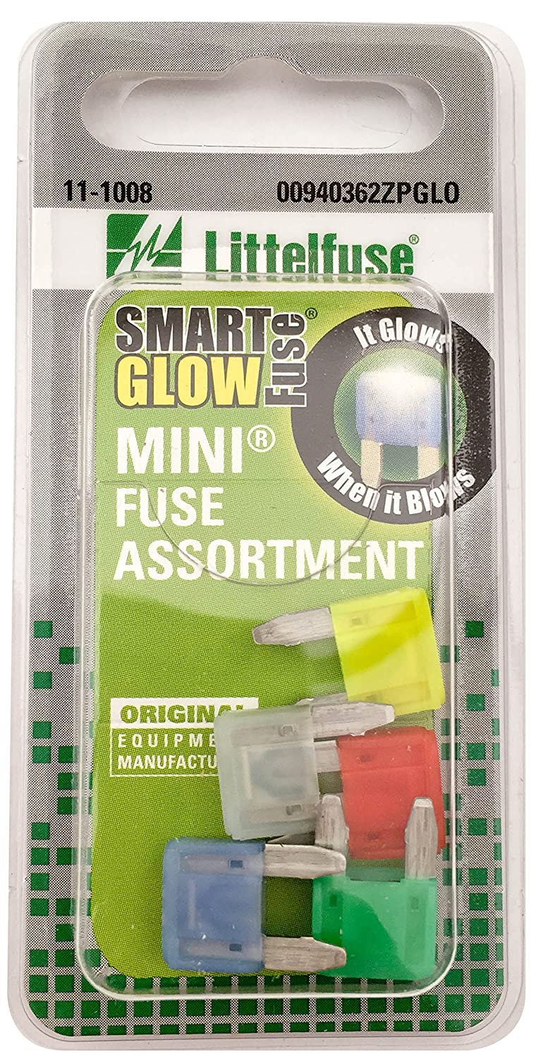 Littelfuse 00940362ZPGLO Big ATO Blade Smart Glow Blade Style Assorted Fuse - 5 Piece