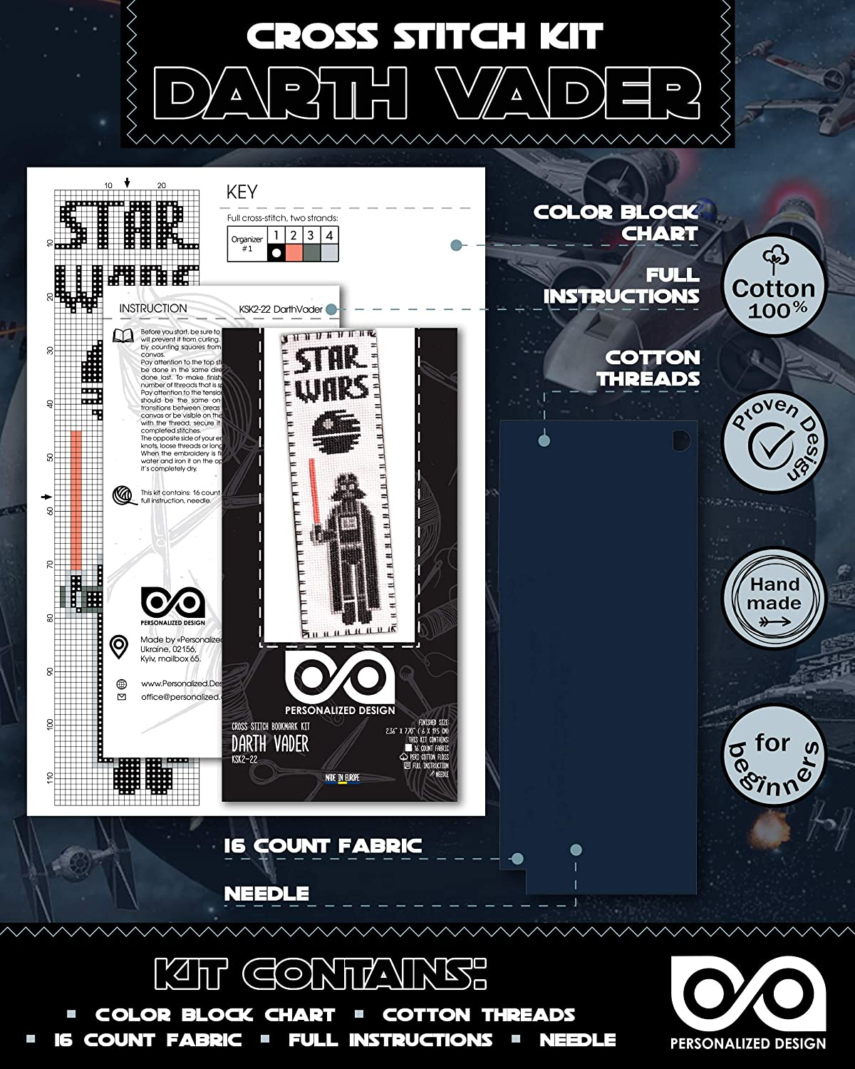 DIY Christmas Gift Hand Embroidery Bookmarks with Patterns Cross Stitch Kits Star Wars Set 7-in-1