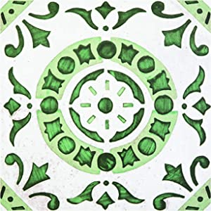 Achim Home Furnishings RTFTV60220 Retro 12x12 Self Adhesive Vinyl Floor Tile Medallion-20 Tiles/20 sq. ft, Green Medallion