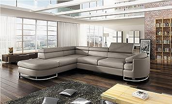 Bmf Ice Light Grey Modern Corner Sofa Chrome Legs Bed Storage Faux