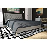 Novogratz Her Majesty Upholstered Linen Bed, Tufted Wingback Design and Wooden Legs, Queen Size - Grey Linen