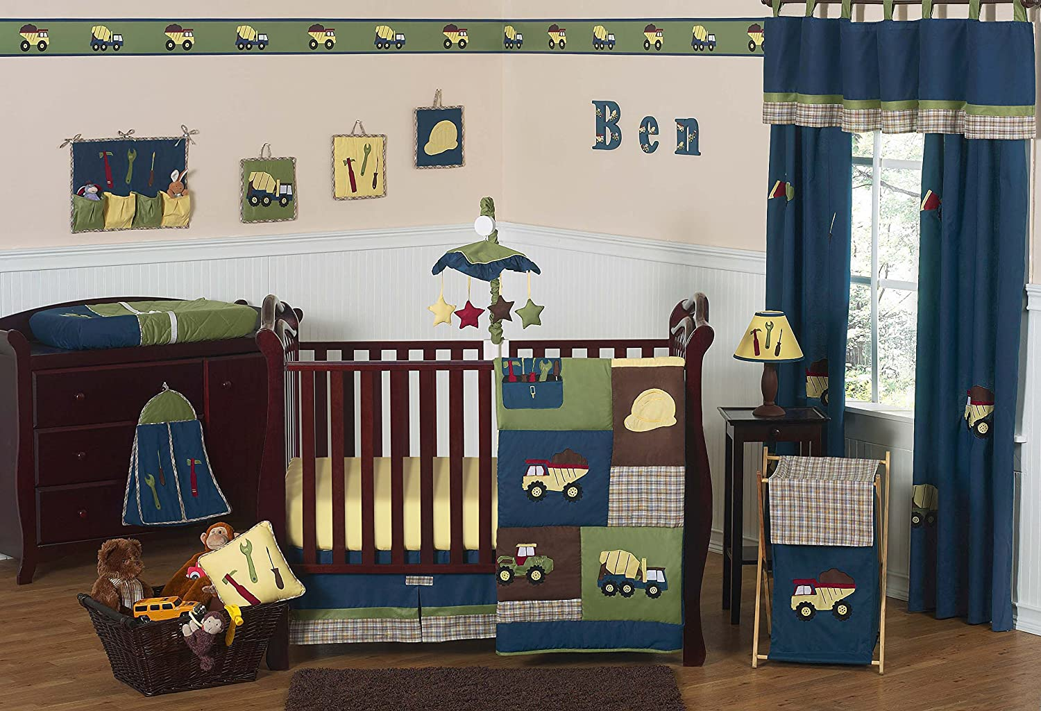Sweet jojo designs construction zone lamp shade free shipping on - Amazon Com Construction Zone Blue Baby Boy Truck Bedding 11pc Crib Set Without Bumper Baby