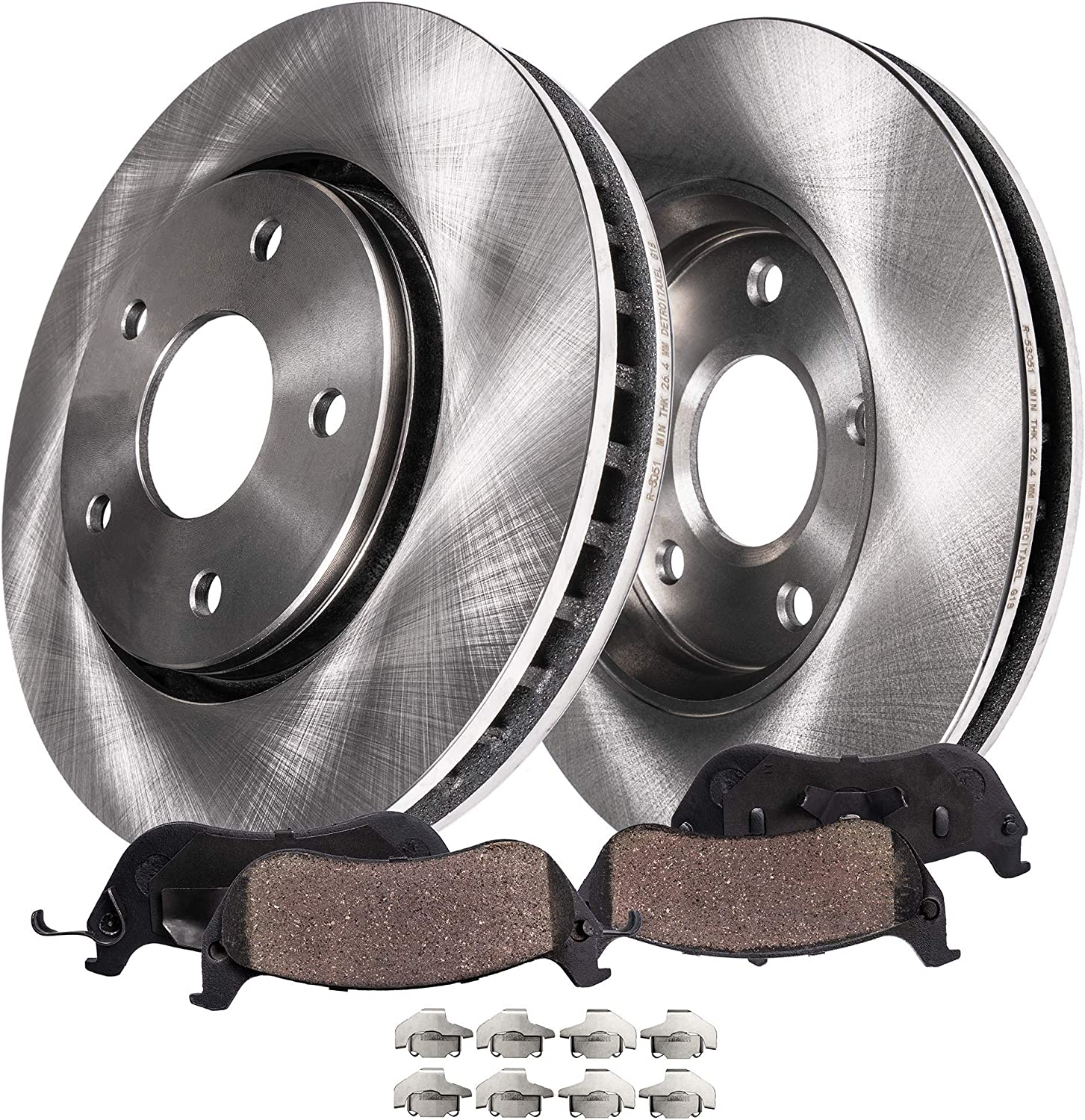 For 2011 Chevrolet Cruze Front eLine Slotted Brake Rotors Ceramic Brake Pads