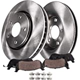 "Detroit Axle - SINGLE PISTON CALIPER VERSION 11.88"" Front Brake Kit Rotor Set & Brake Kit Pads w/Clips Hardware Premium…"