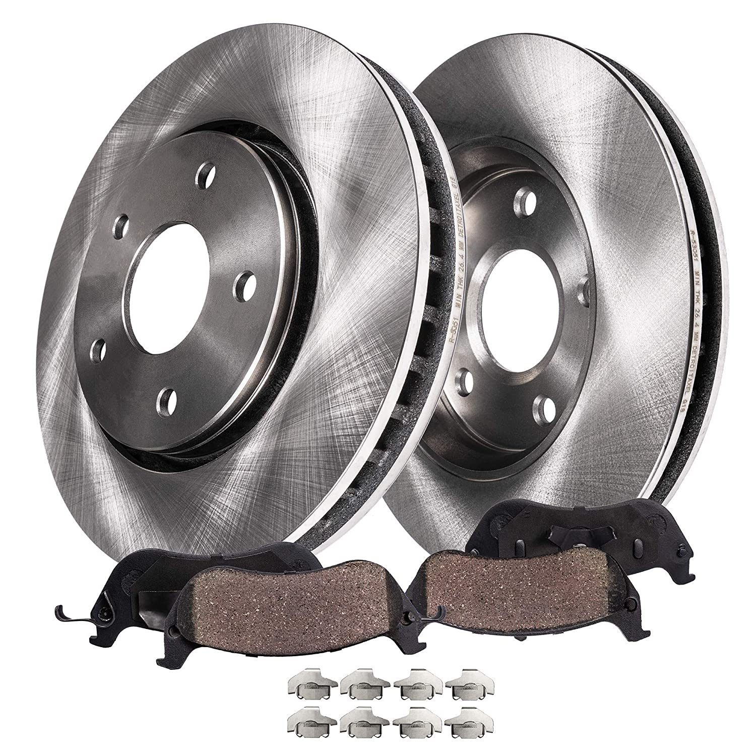 Detroit Axle Front Brake Rotors /& Ceramic Pads w//Clips Hardware Kit Premium GRADE for 2007 2008 2009 Hyundai Santa Fe