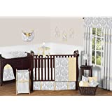 Yellow, Gray and White Avery Damask Print Girl or Boy Baby Bedding Collection Unisex 11pc Crib Set without bumper
