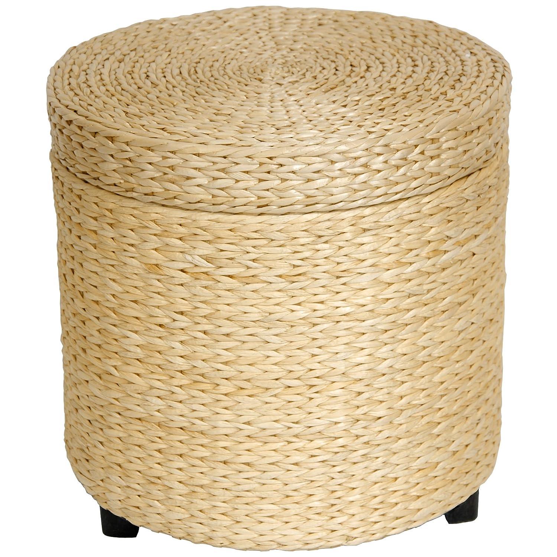 Amazon Oriental Furniture Rush Grass Storage Footstool