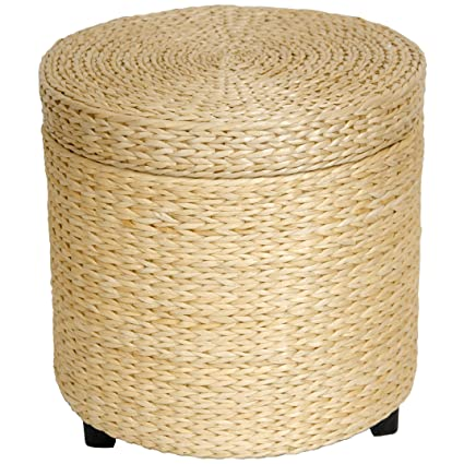 ORIENTAL FURNITURE Rush Grass Storage Footstool   Natural