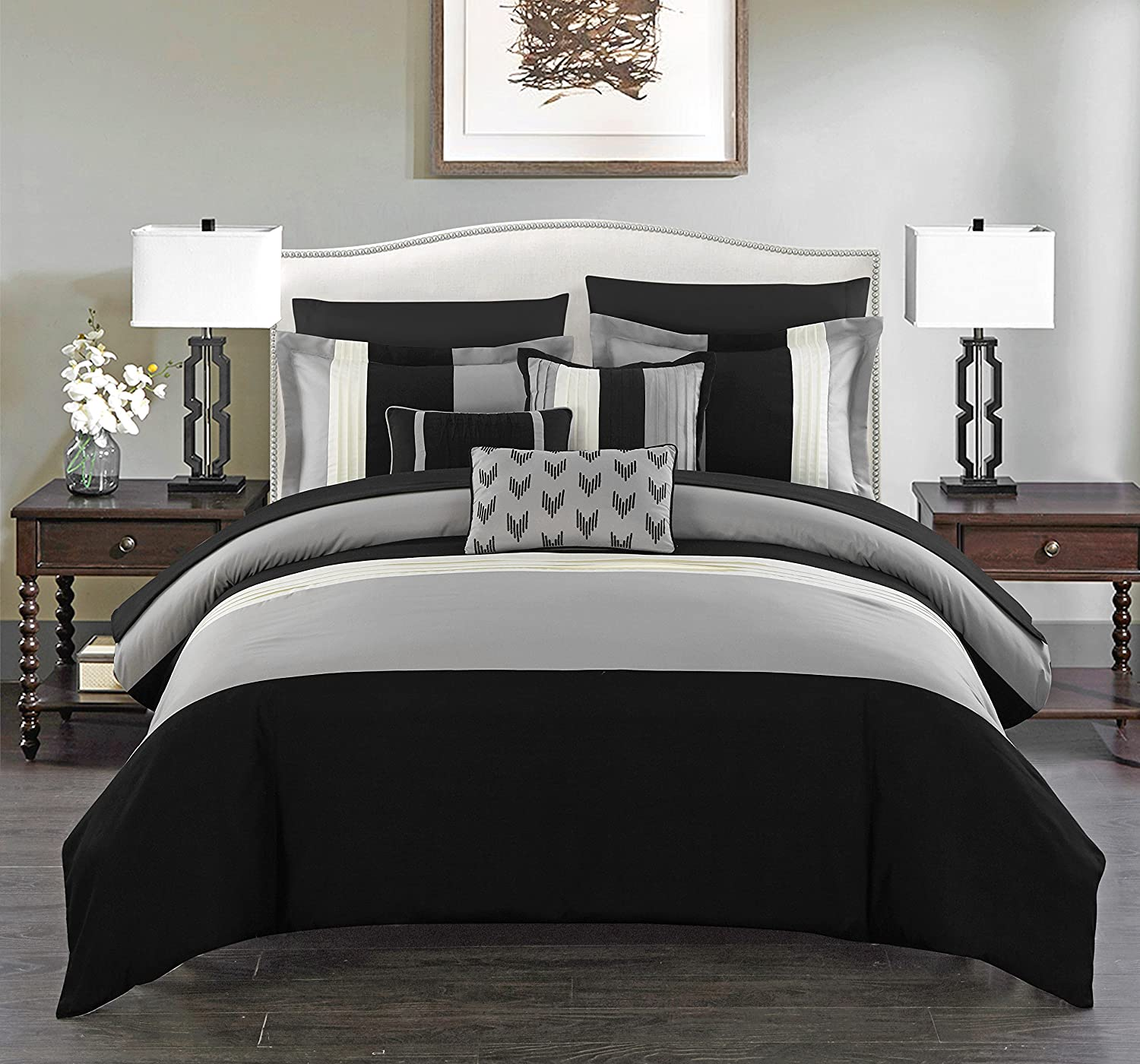 Chic Home Ayelet 10 Piece Comforter Set Color Block Ruffled Bag Bedding-Decorative Pillows Shams Included, Queen, Black