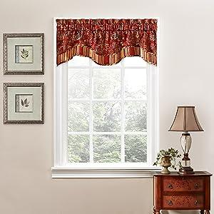 "Traditions By Waverly 14312052016CRI Navarra Floral Window Valance, 52"" x 16"", Crimson"