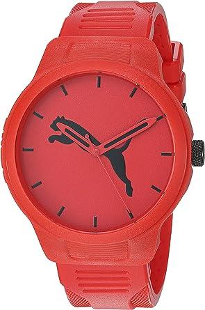 Puma Men's Reset V2 Quartz Three Hand Silicone Watch Featuring Puma Jumping Cat Logo
