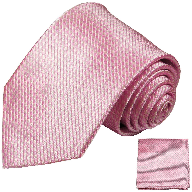 Paul Malone Krawatten Set 3tlg 100% Seidenkrawatte rosa (Normallänge, Extralang oder schmal) 501-3er