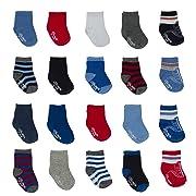 Little Me 20 Pair Pack Unisex Baby Infant Newborn Boys Anklet Socks in Gift Box Set, Flat Knit, Multi, 0-12/12-24 Months