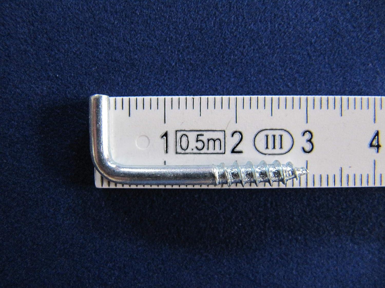 L-Haken,Winkelhaken,Haken Gardinenhaken 20 Stk Bilderhaken Schraubhaken gerade 30mm