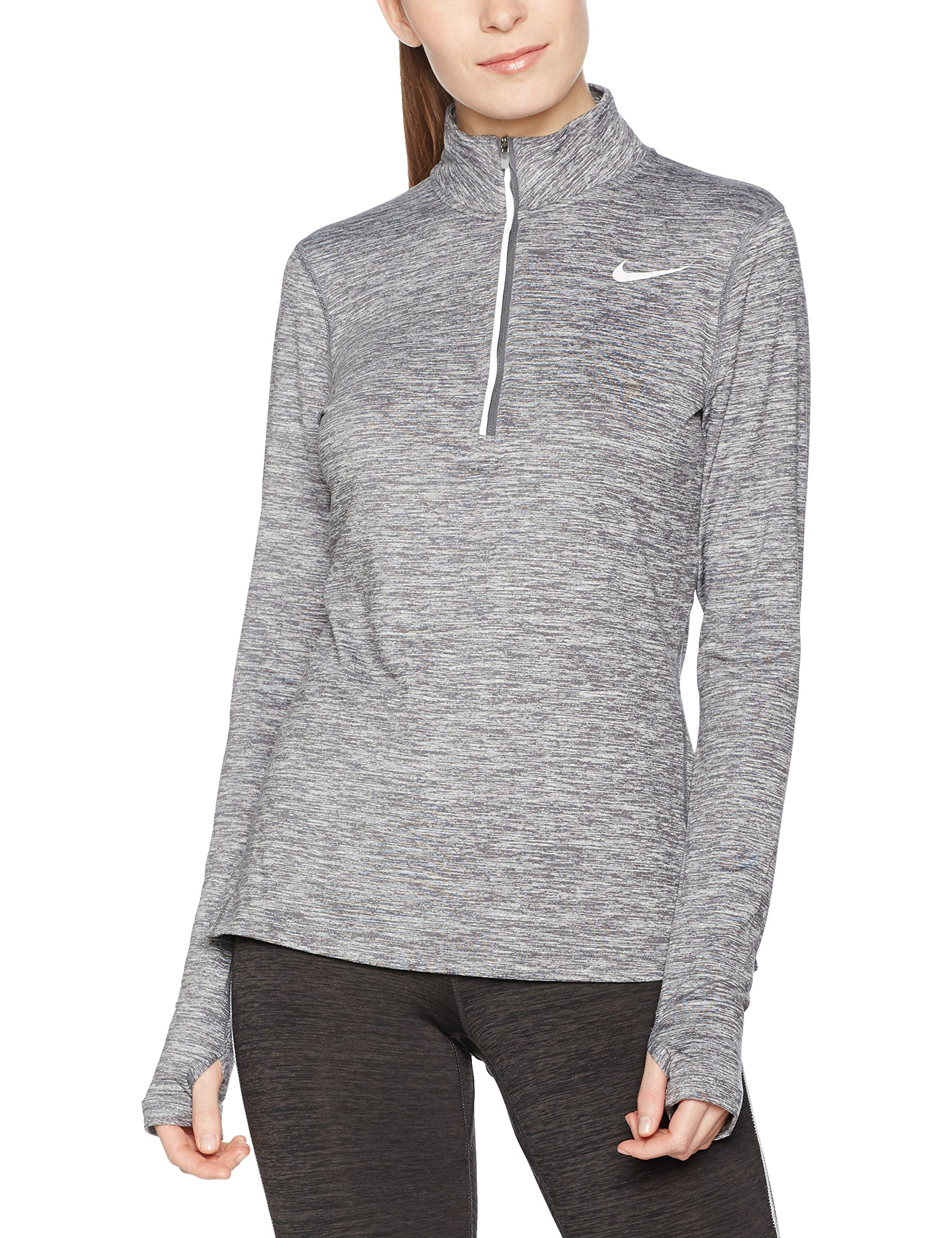 Nike Women's Dri-FIT? Element Half Zip Dark Grey/Heather/Reflective Silver T-Shirt XL