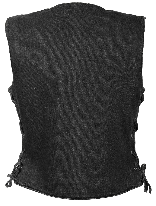 Black, Large 14//12 OZ DEN Milwaukee Performance Womens Denim 3 Front Snaps Vest