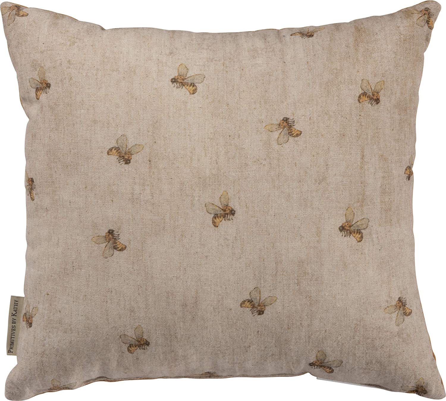 Primitives by Kathy Farmhouse Feedsack Throw Pillow, 14 x 13-Inches, Honey Bee