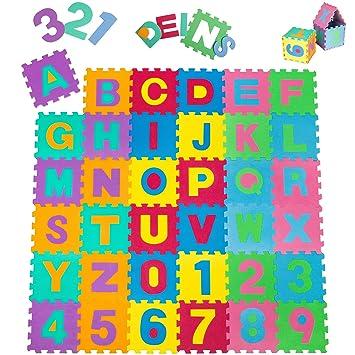 Tectake Tapis De Jeu Puzzle Mousse Souple Alphabets Chiffres Env